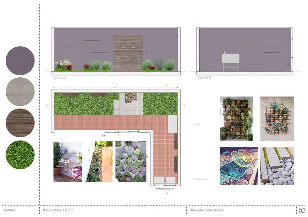 Propuesta Patio: Jardines de estilo rústico por Casa Meva Estudio