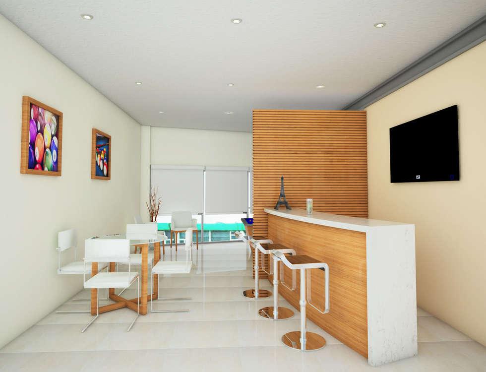 Bar y area de juego: Casas de estilo minimalista por PRISMA ARQUITECTOS