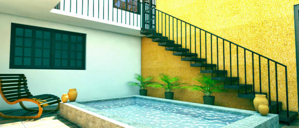 Interior poza en patio central: Casas de estilo rústico por PRISMA ARQUITECTOS