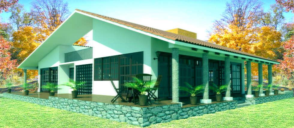 fachada 2: Casas de estilo rústico por PRISMA ARQUITECTOS