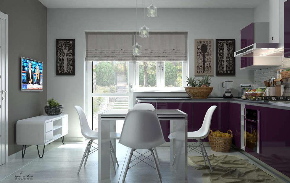 Design & Render – Progettazione cucina e zona soggiorno, Capo d'Orlando (ME).: Cucina in stile in stile Moderno di Santoro Design Render
