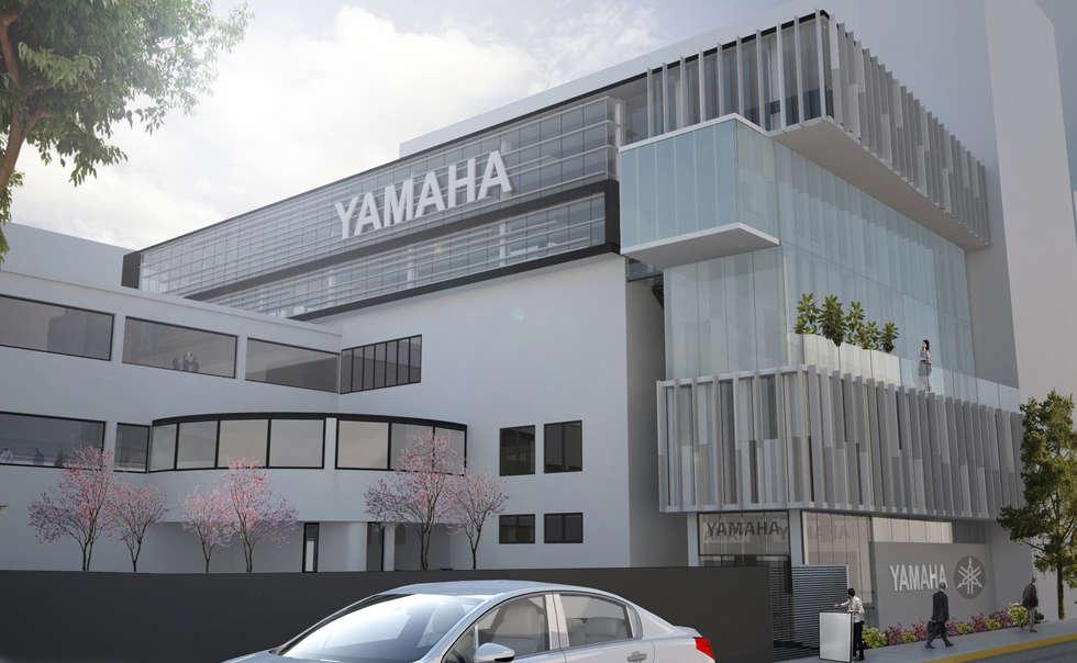 Fachada Yamaha Insurgentes : Estudios y oficinas de estilo moderno por Arquitectos M253