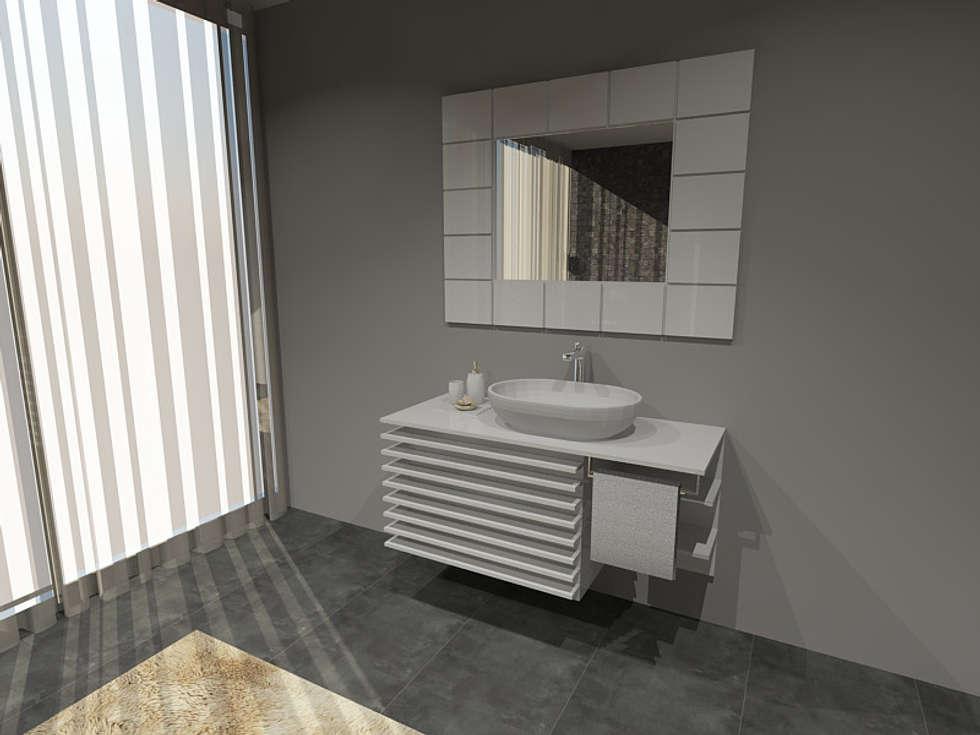 Projectos de interiores 3D chave na mão  3D interior design projects turn key www.intense-interiores.com  Projetos interiores 3D  : Casas de banho modernas por Intense mobiliário e interiores;
