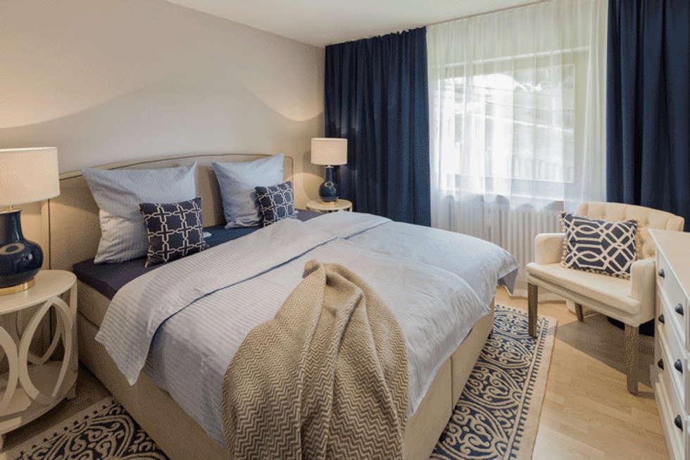 Schlafzimmer In Beige, Weiss Und Blau Tönen: Landhausstil Schlafzimmer Von  Homemate GmbH