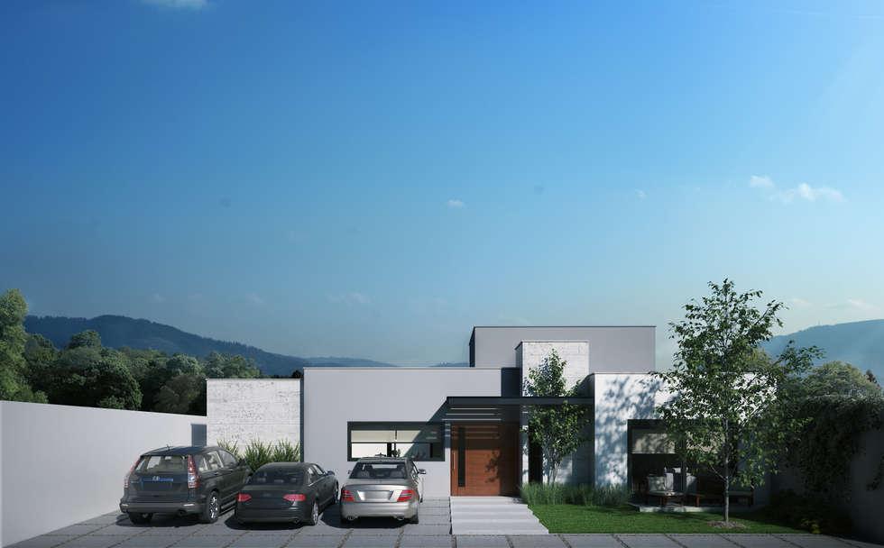 Fachada Principal: Garajes de estilo moderno por Ambás Arquitectos