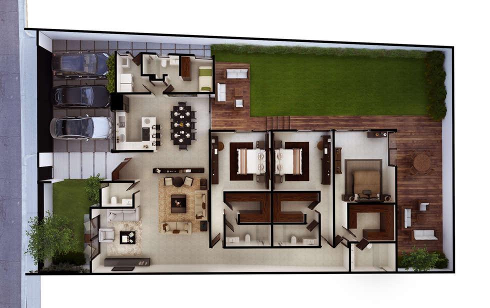 Planta Arquitectónica: Baños de estilo  por Ambás Arquitectos