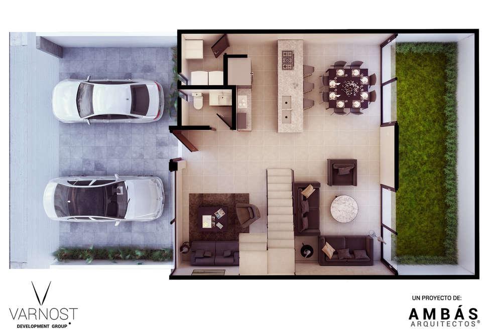 Planta Baja: Baños de estilo  por Ambás Arquitectos