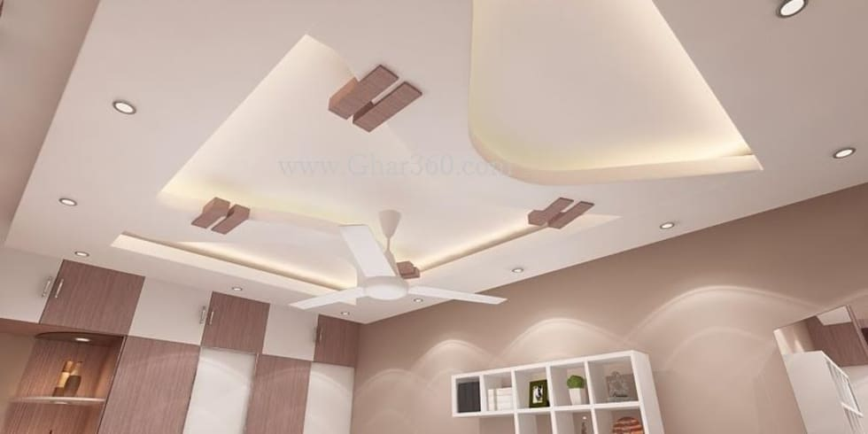 2 White And Light Ceiling Curve False Modern