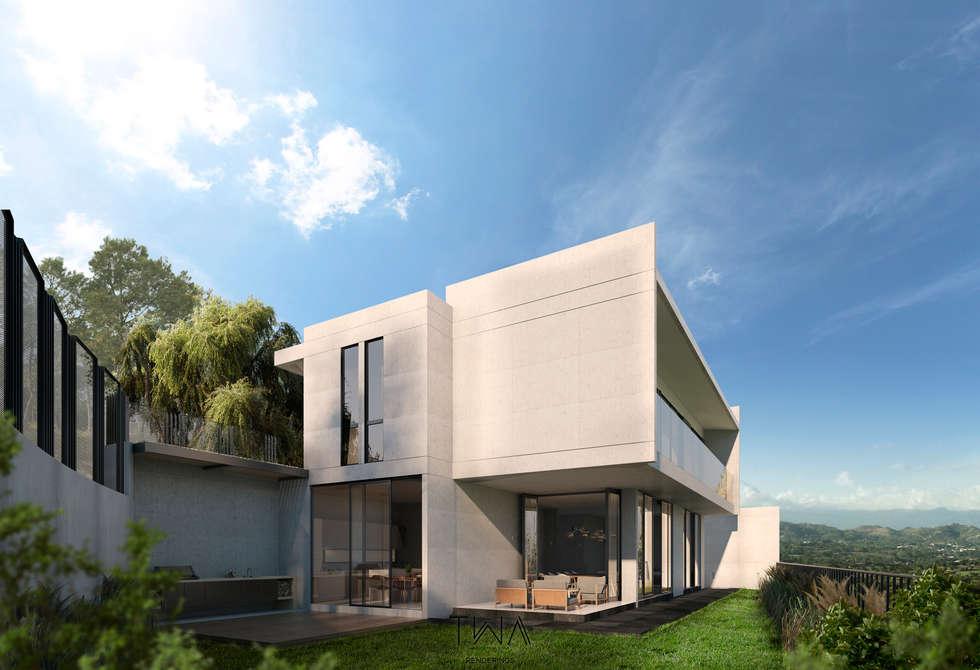 Fachada posterior: Casas de estilo moderno por TW/A Architectural Group