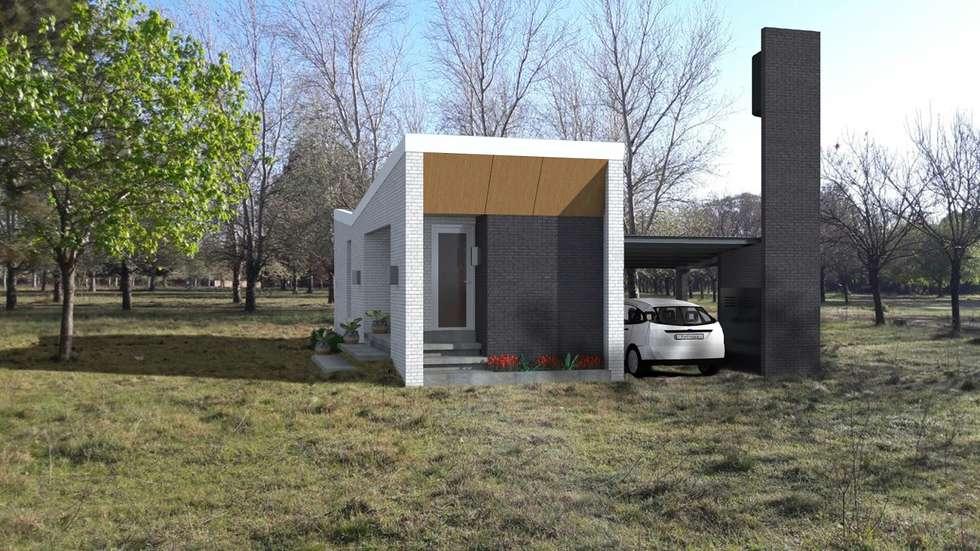 FACHADA / VIVIENDA F/ EDICION CAPSULA / TU CASA: Casas de estilo moderno por VHA Arquitectura