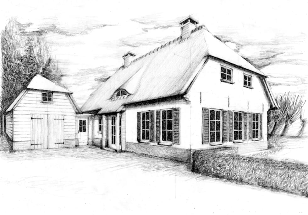 Artist impression landelijke woning, Ewijk: landelijke Huizen door Bob Romijnders Architectuur & Interieur