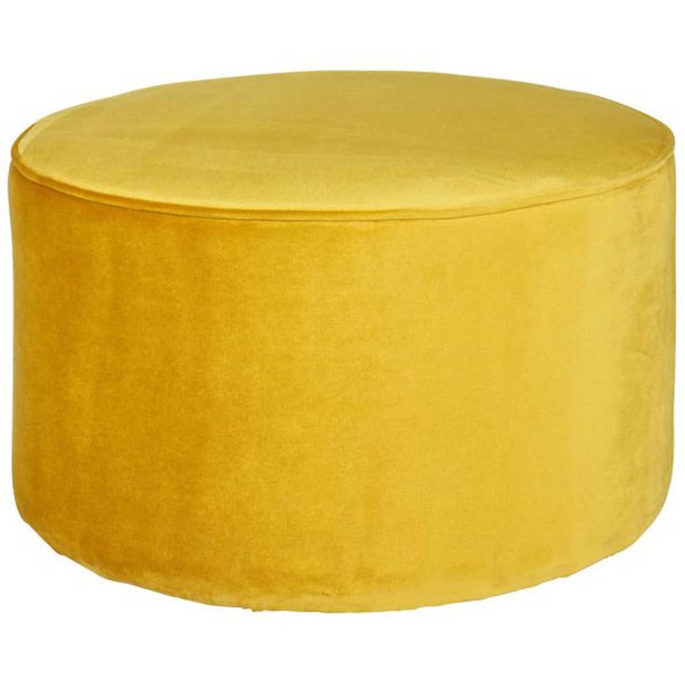 Woood sara pouf sitzhocker – 60cm durchmesser, samtbezug gelb ...