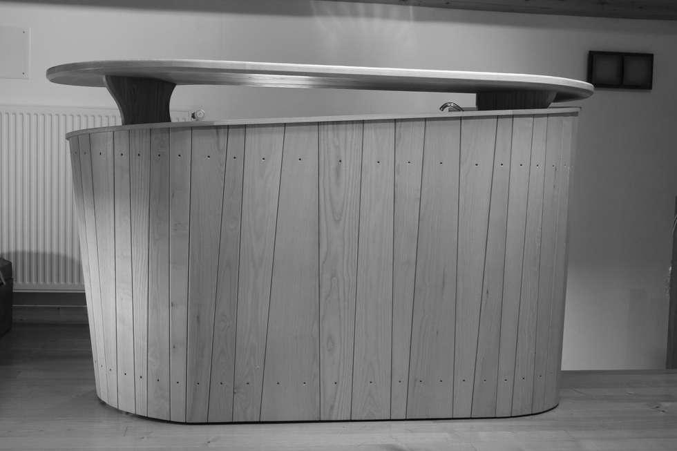 meuble bar avec vier et rangement en fr ne salle manger de style de style moderne par. Black Bedroom Furniture Sets. Home Design Ideas