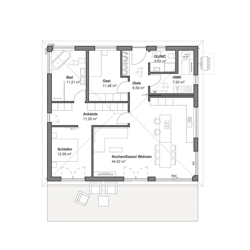 Wohnideen interior design einrichtungsideen bilder for Bungalow grundriss modern