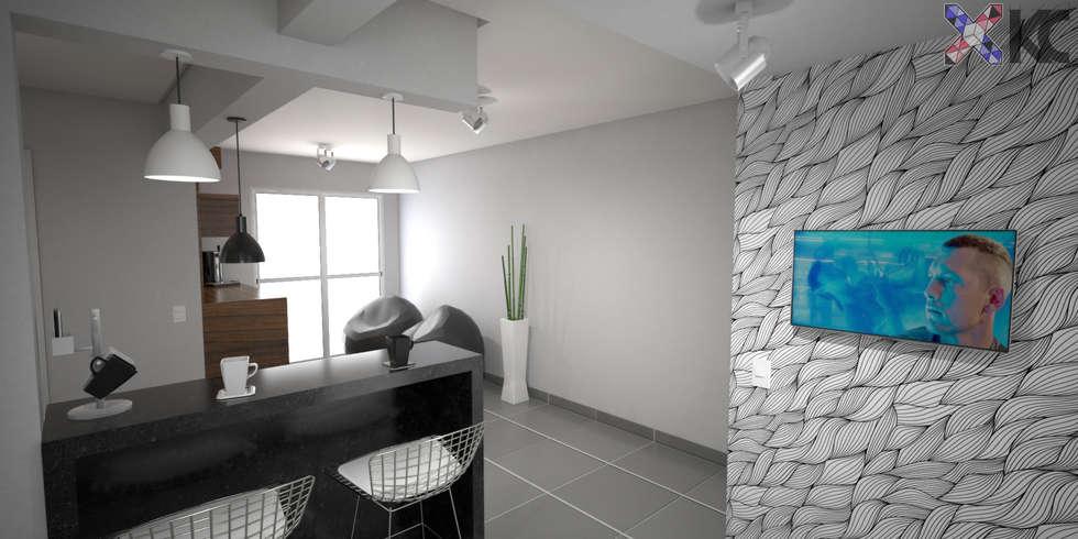 Apartamento VA: Salas de jantar modernas por KC ARQUITETURA urbanismo e design