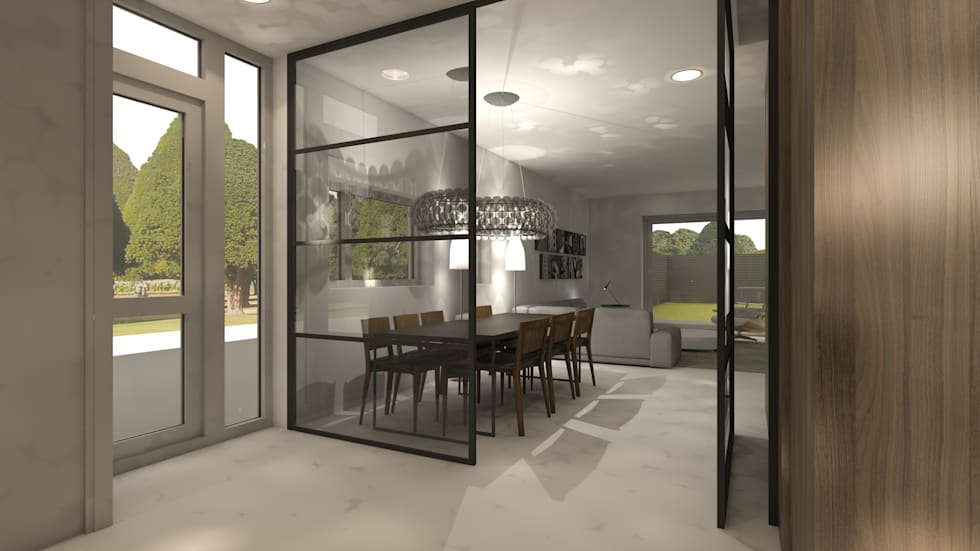 Stalen pui woonkamer eetkamer moderne slaapkamer door studio