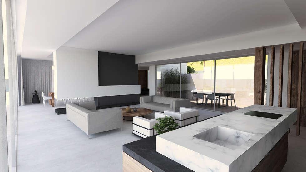 int rieur villa contemporaine dans le var salon de style de style moderne par sebastien belle. Black Bedroom Furniture Sets. Home Design Ideas