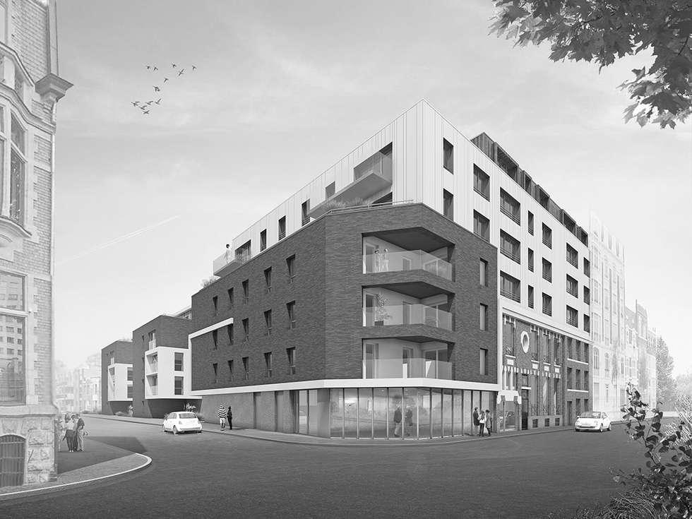 71 Logements collectifs et 1 bureau à Marcq en Baroeul: Bureaux de style  par Gra+Des Architectes