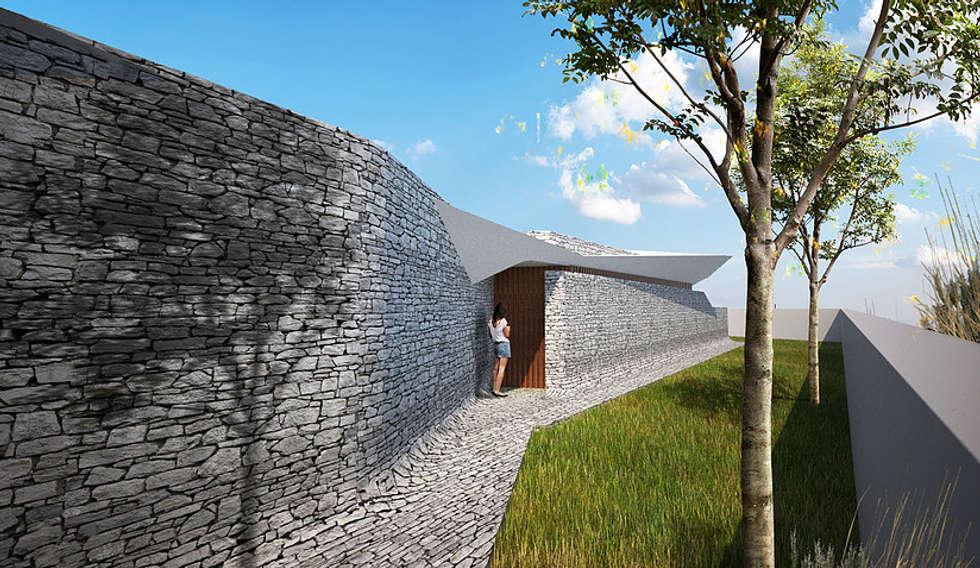 pt - Render Exterior en - Exterior Rendering: Casas modernas por Office of Feeling Architecture, Lda