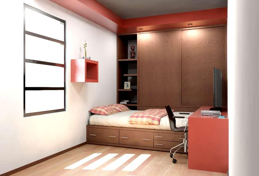 Oficina y mini departamentos rec maras de estilo moderno for Decoracion para minidepartamentos