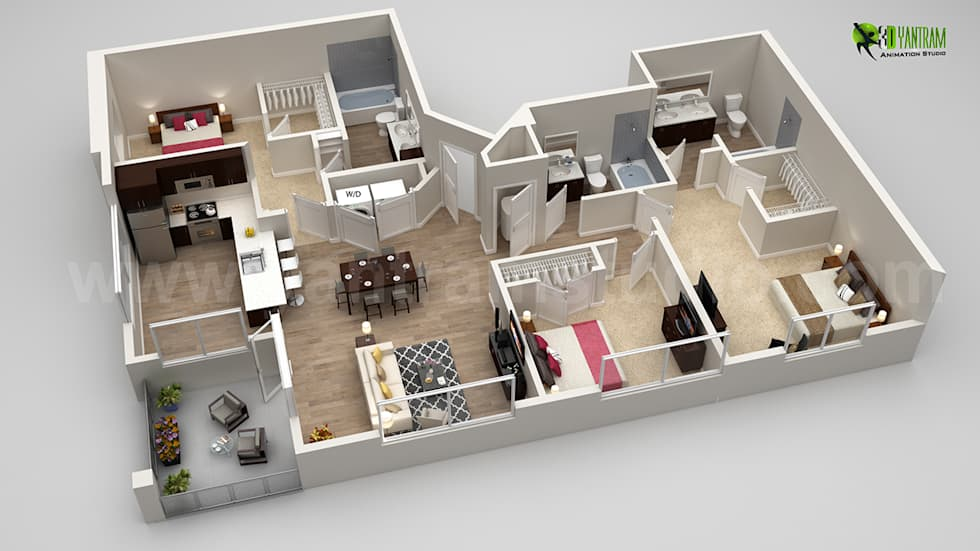 Dise o de planos de pisos 3d con diferentes vistas casas de estilo cl sico de yantram animaci n - Diseno de casa en 3d ...