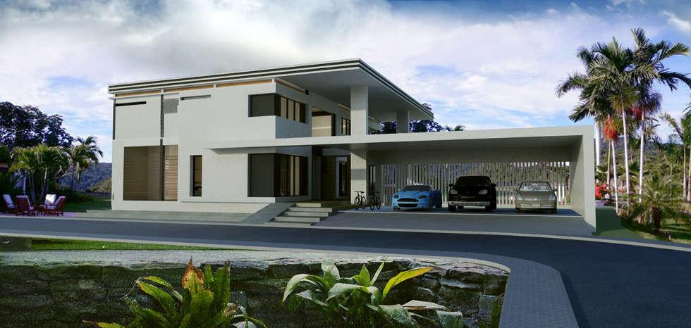 ผลงานออกแบบบ้านพักอาศัย 2 ชั้น Modern Style by KL-Cons.:  บ้านและที่อยู่อาศัย by บริษัท เค.แอล.คอนสตรัคชั่น แอนด์ ซัพพลาย จำกัด