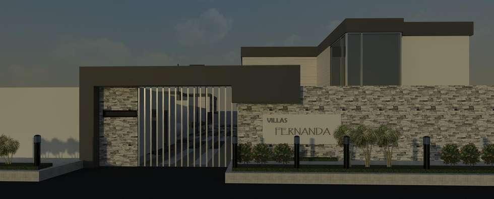 Fachada diurna Villas María Fernanda: Casas de estilo minimalista por Diseño Store