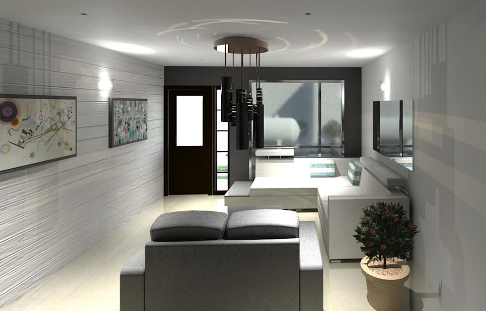 Vista interna de la sala: Salas / recibidores de estilo minimalista por Diseño Store
