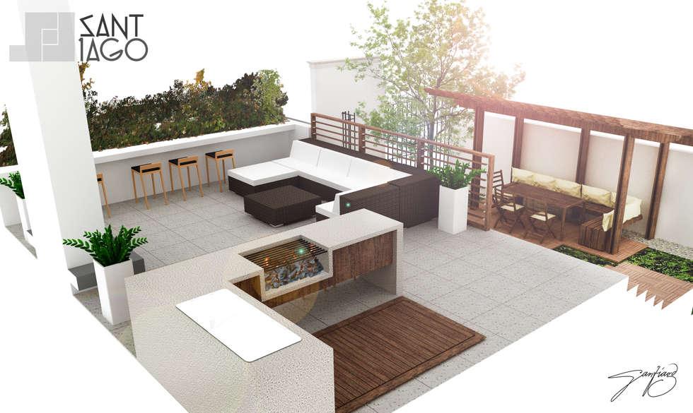 vista al exterior: Terrazas de estilo  por SANT1AGO arquitectura y diseño
