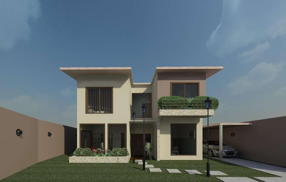 Fachada diurna: Casas de estilo moderno por Diseño Store