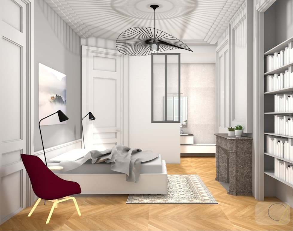 r novation d 39 un appartement haussmannien lyon chambre de style de style moderne par camille. Black Bedroom Furniture Sets. Home Design Ideas