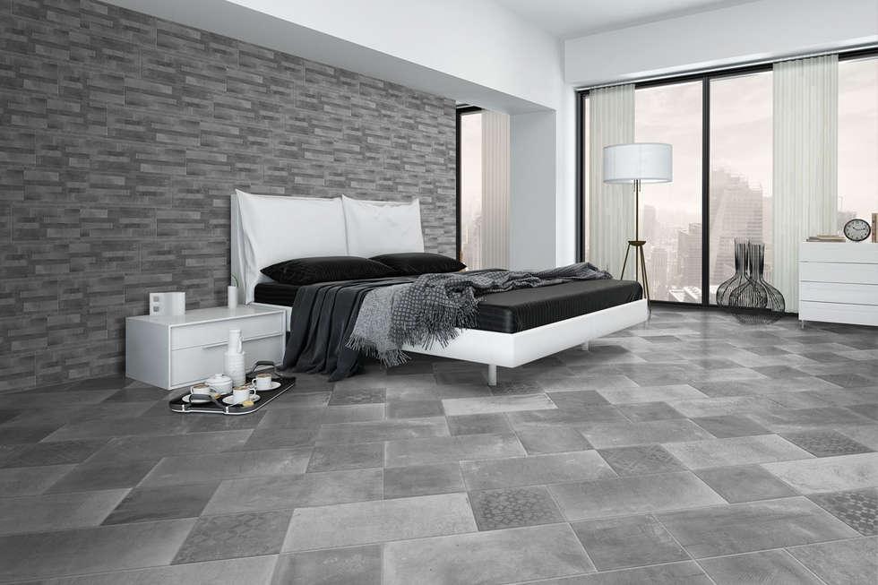 Gres effetto cemento fumo - AT 1003: Camera da letto in stile in stile Industriale di ItalianGres