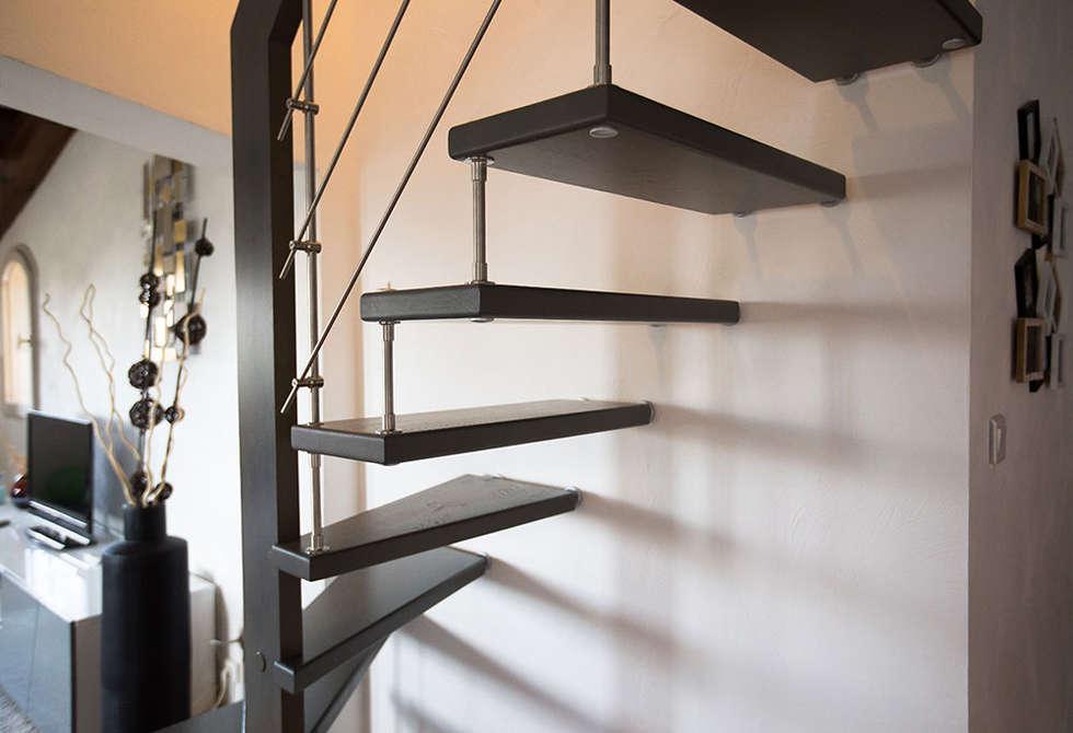 Escalier teinté gris: Couloir et hall d'entrée de style  par Passion Bois