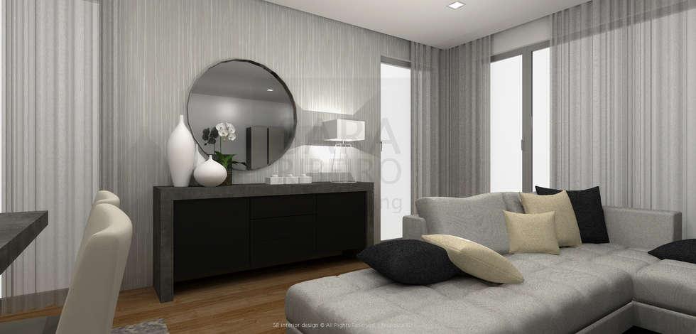 Black & Concrete Living Room: Salas de jantar modernas por Sara Ribeiro - Arquitetura & Design de Interiores