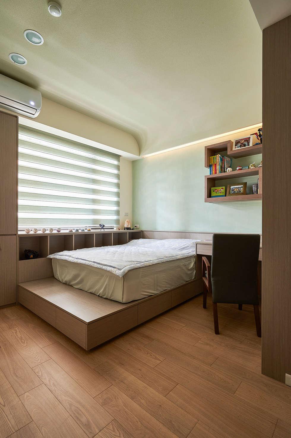小孩房強調收納機能與健康訴求:  臥室 by 青瓷設計工程有限公司