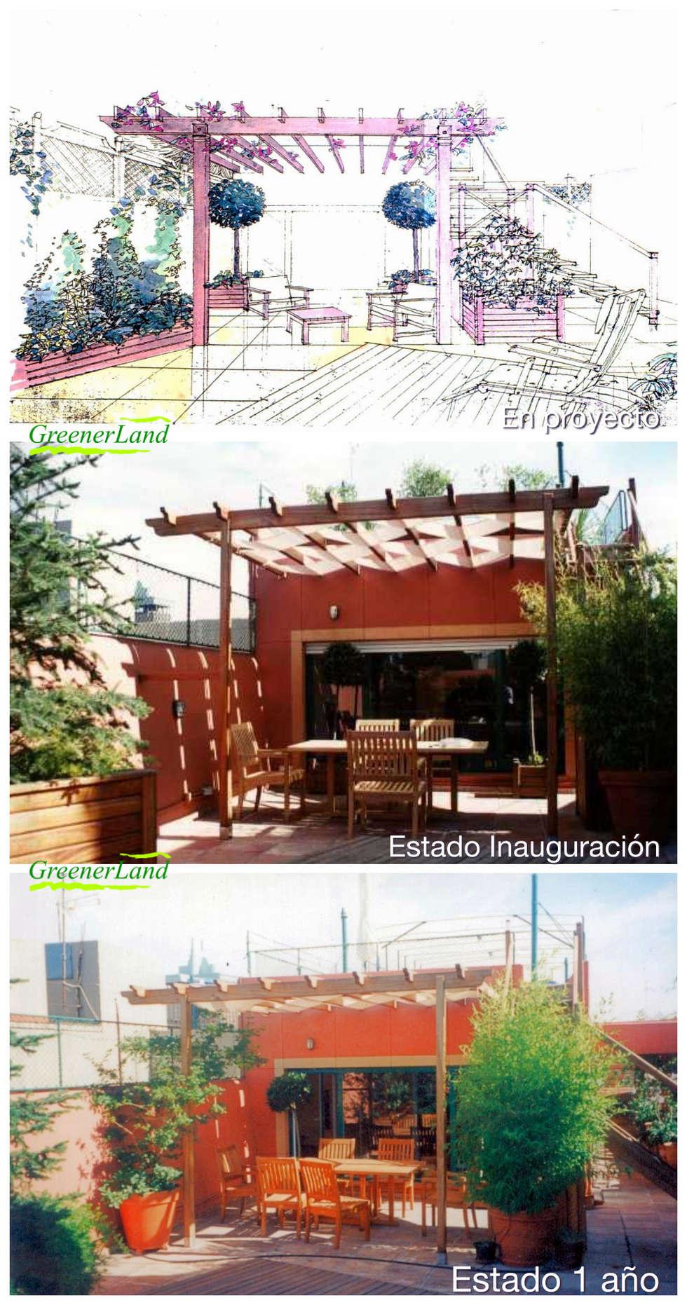 Terrazas de estilo  por GreenerLand. Arquitectura Paisajista y Tematización