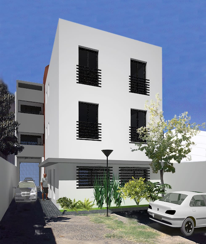 Edificio de Oficina y vivienda: Estudios y oficinas de estilo moderno por Lineasur Arquitectos