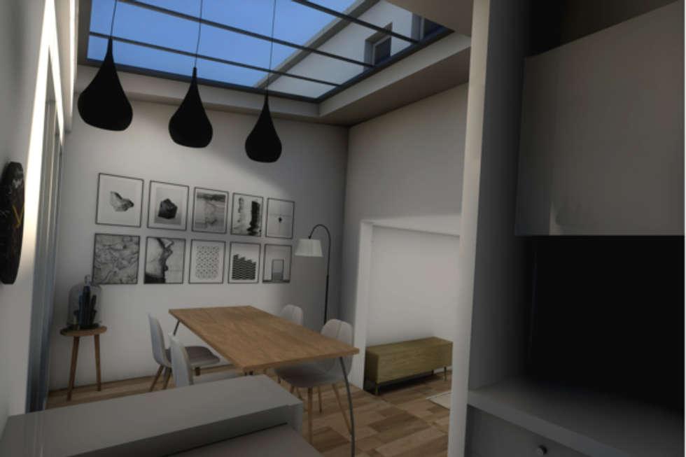 Vue de la salle à manger dans l'extension: Salle à manger de style de style Moderne par Dem Design