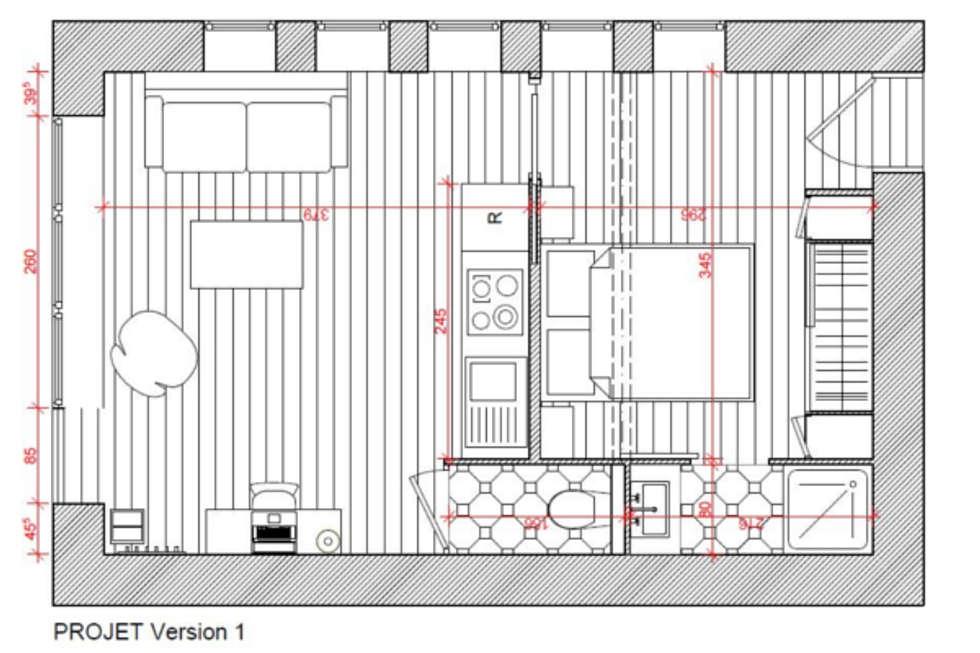 Plan de la première proposition: Murs de style  par Dem Design