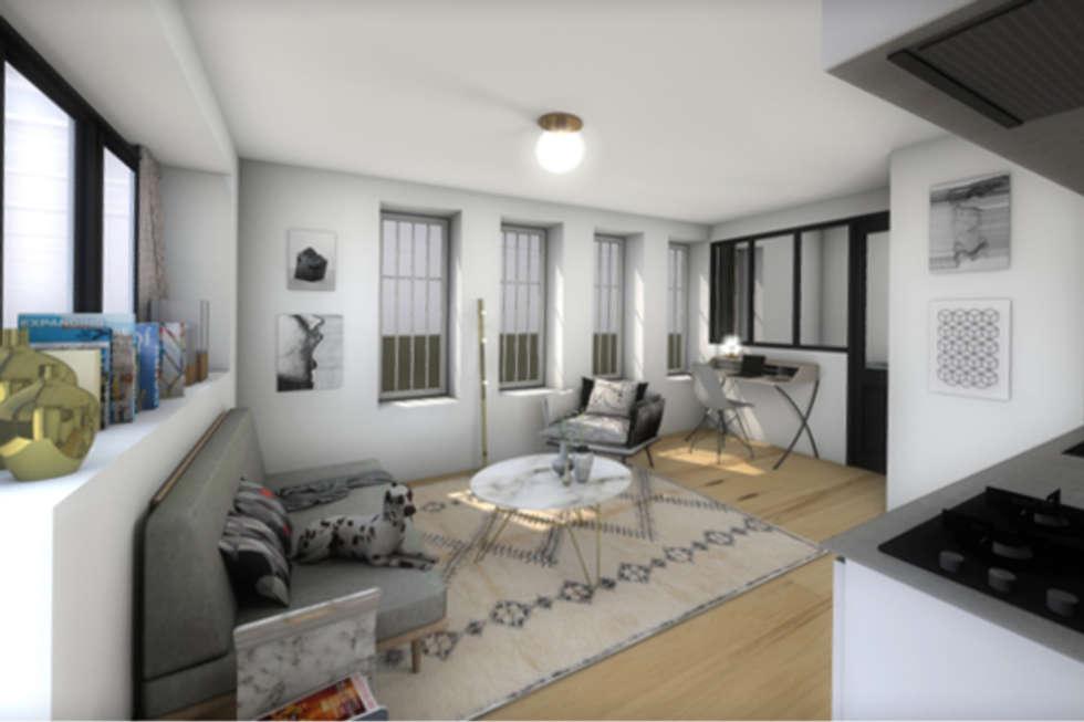 Vue du séjour de la seconde version: Salon de style de style Moderne par Dem Design