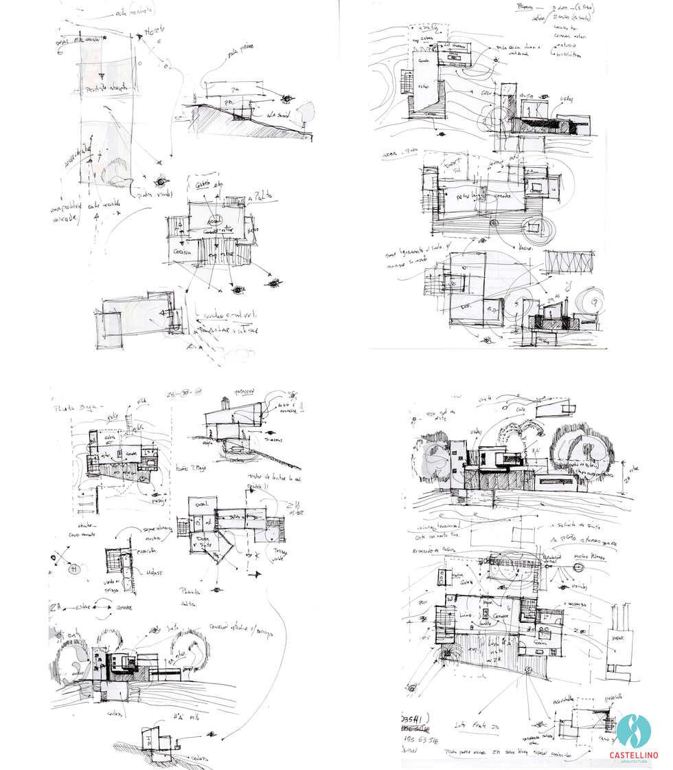 Croquis preliminares : Casas de estilo moderno por CASTELLINO ARQUITECTOS (+)