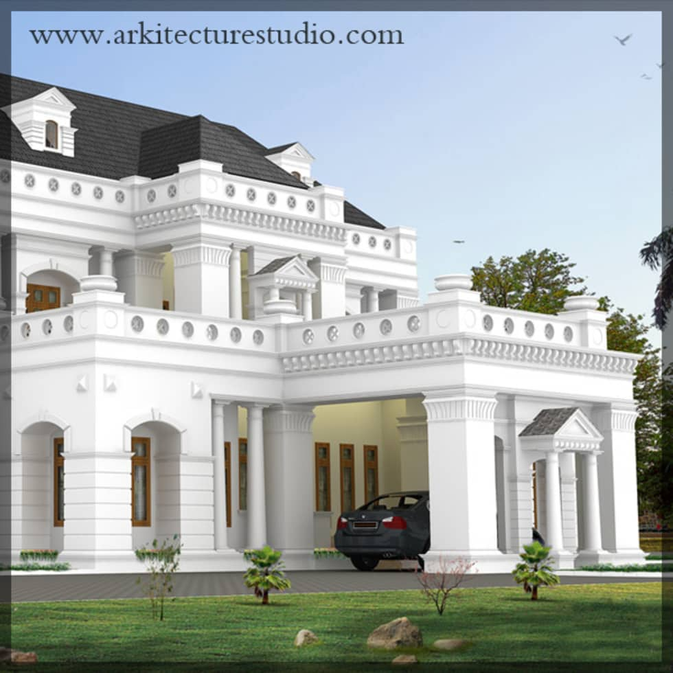 Colonial Style Luxury Indian Home Design: Colonial Houses By Arkitecture  Studio,Architects,Interior