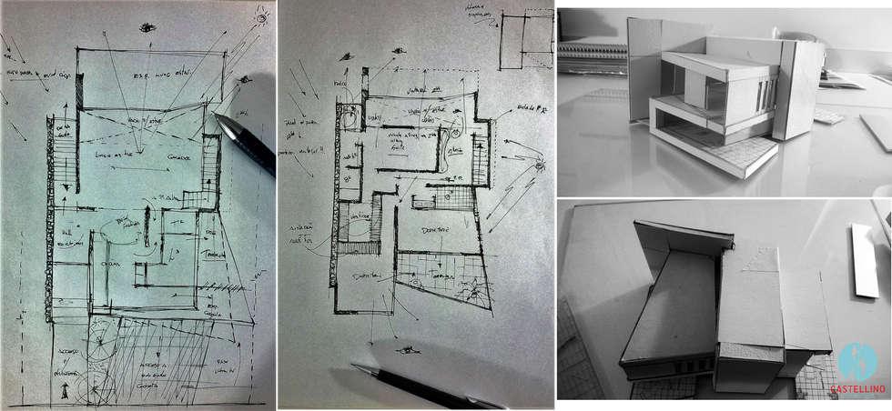 Croquis preliminares - Proceso de Diseño: Casas de estilo moderno por CASTELLINO ARQUITECTOS (+)