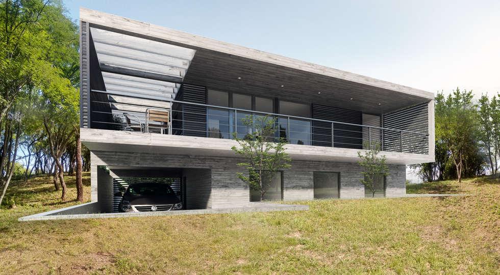 Fachada posterior (Nor / Oeste): Casas de estilo minimalista por 1.61 Arquitectos