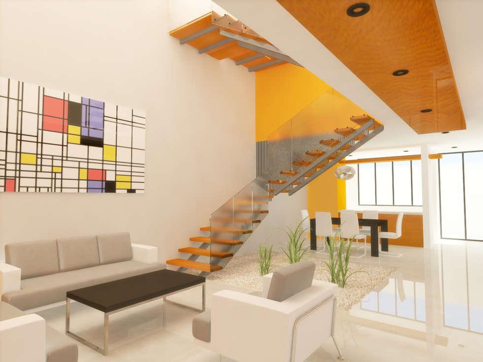 Sala escaleras salas de estilo minimalista por dlr for Salas con escaleras
