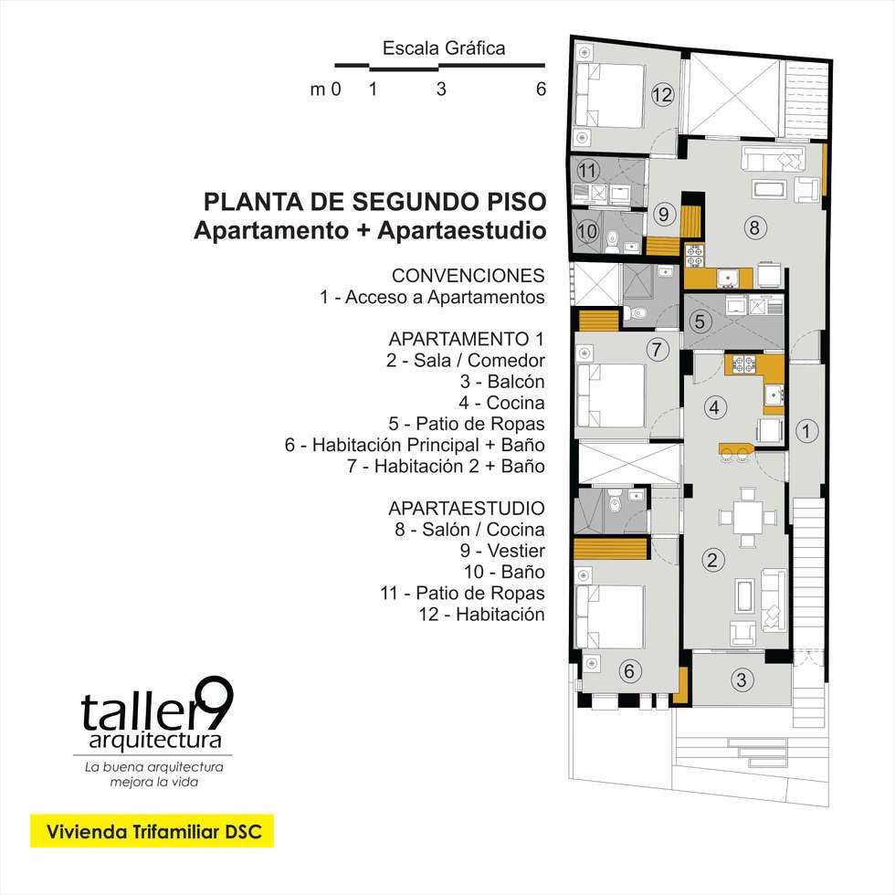 Planta de Segundo Piso: Casas de estilo moderno por TALLER 9, ARQUITECTURA