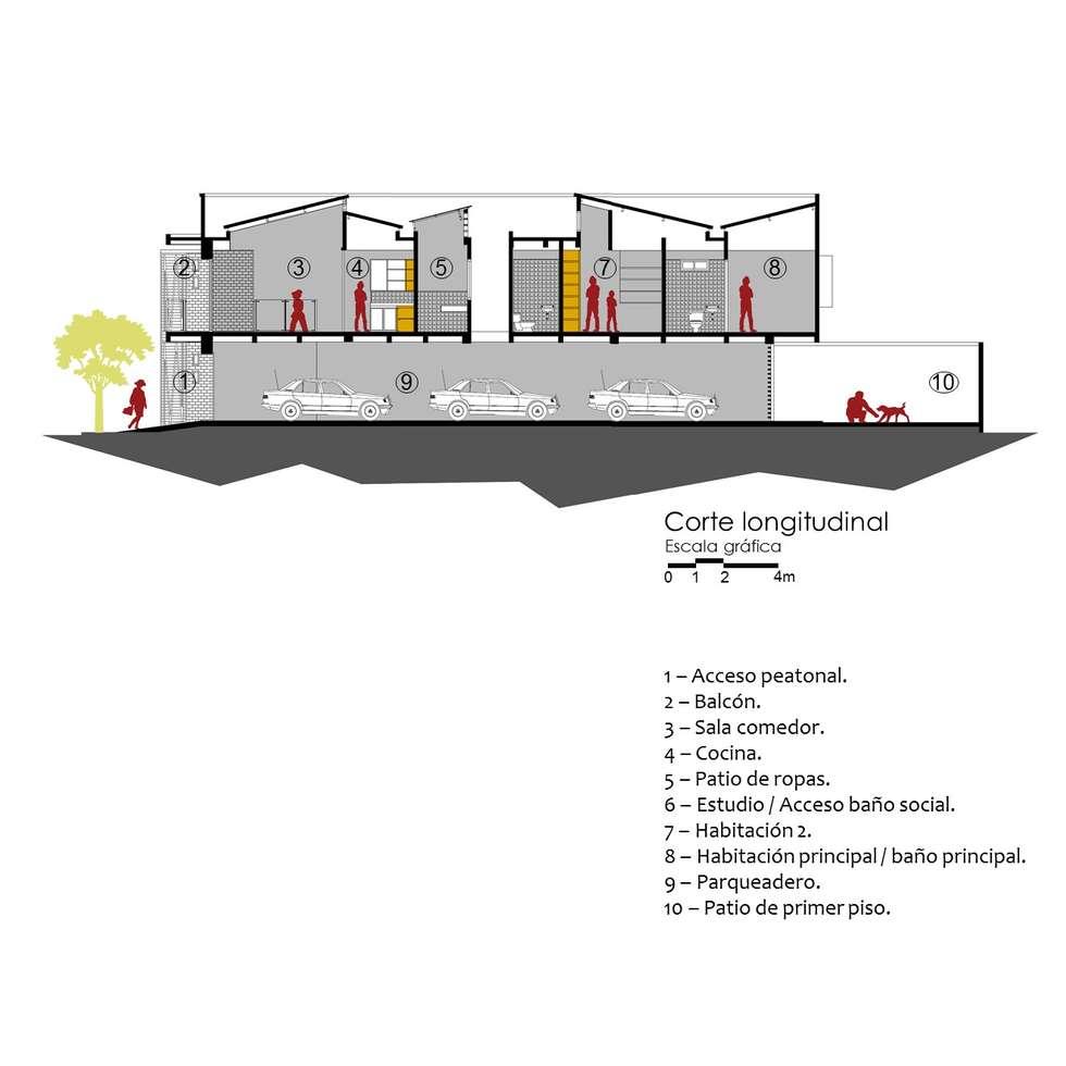 Corte Longitudinal.: Casas de estilo moderno por TALLER 9, ARQUITECTURA