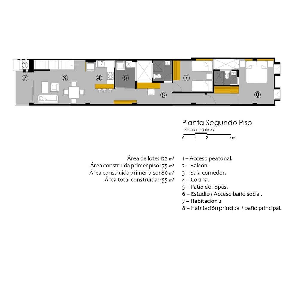 Planta de Segundo Piso.: Casas de estilo moderno por TALLER 9, ARQUITECTURA