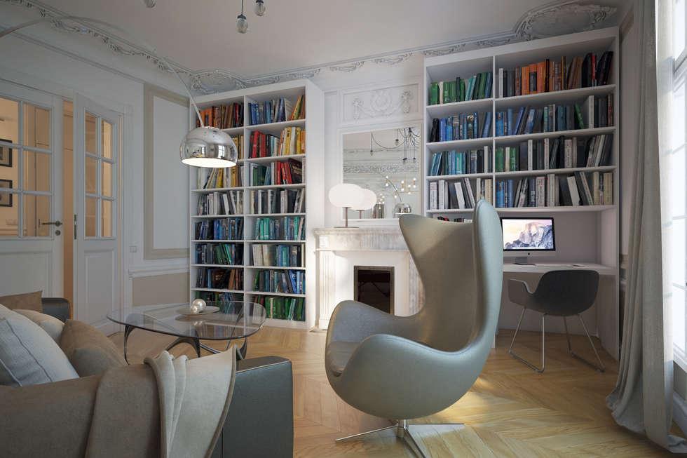 bibliothèque: Salon de style de style Moderne par Agence KP