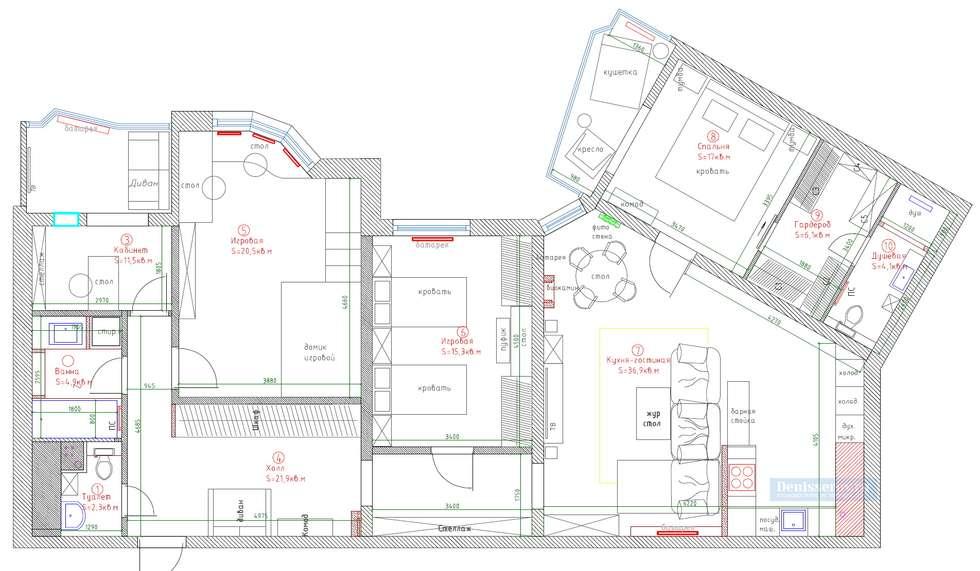 Планировка четырехкомнатной квартиры: Стены в . Автор – Студия интерьера Дениса Серова